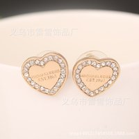Wholesale Global Europe - Europe and the United States are selling exquisite diamond earrings earrings peach small global hot wholesale sales