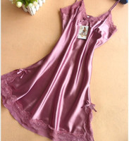 Wholesale green silk nightgown - Ladies Sexy Silk Satin Night Dress Sleeveless Nighties V-neck Nightgown Plus Size Nightdress Lace Sleepwear Nightwear For Women