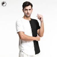 Wholesale Taiji Uniform Free Shipping - Wholesale-Casual Kung Fu Shirts Short Sleeve Men Clothing Leisure Tai Chi Coat Chinese Style Soild Martial Art Taiji Uniform Free Shipping