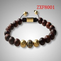 """Wholesale Shamballa Gold Plated Beads - """"jewelry factory """"Nialaya Alloy point drill Earth beads Bracelets Shamballa Strip alloy Weave Best Sellers Popular Red tiger stone Bracelet"""
