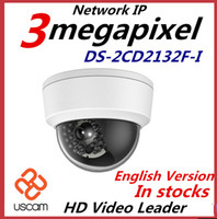 Wholesale 3mp dome - 2015 Newest English Version Hikvision IP Camera DS-2CD2132F-I 3MP Mini Dome Camera 1080P POE IP CCTV Camera Multi-language