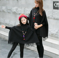 Wholesale Family Christmas Sweaters - Christmas 2018 Family Clothing Daughter and Mother Knit Tassel Pullover Girls Knitting Batwing Sleeve Sweater Babies Autumn Casual Clothes