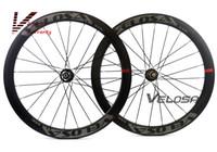 frenos de disco de bicicleta de carretera de carbono al por mayor-Juego de ruedas Velosa Disc 50 Road Disc Brake, 50 mm clincher / tubular, rueda de bicicleta de carretera 700C, rueda de ciclocross