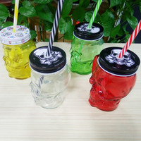 Wholesale Halloween Straw Cups - Halloween Wine Glass Cold Drink Custom Skull Mugs With Handgrip Pudding Milk Cocktail Glass Cups With Straw Transparent Mugs