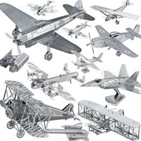 Wholesale 3d Helicopter Robot - DIY 3D Solid Form Models Metallic Nano Educational Puzzle Robot Kits Imperial Star Destroyer Styles Aeroplane For Kids Adult Chirstmas Birth