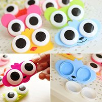 Wholesale Cute Animals Big Eyes - Wholesale-5PCS Hotsale 3D Cute Big Eye Owl Frog Style Cartoon Contact Lens Box Case Soak Storage Container Holder