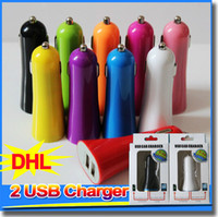 Wholesale Mobile Phone Charger Adapter Solar - Mini 2 USB Car Chargers Adapter 12V for iPod Touch iPhone 4S 5 6 plus all mobile phone samsung s5 note3 tablet PC