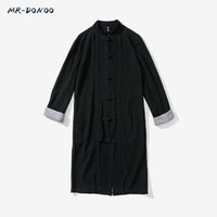 Wholesale Han Tang - Wholesale- MRDONOO Yong men's Tang Chinese tunic suit large Han clothing antique Chinese style linen long sleeve middle-long windbreaker