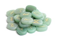 Wholesale green feng shui - Set of 25 Natural Green Aventurine Carved Crystal Reiki Healing Palm Stone Engraved Pagan Lettering Wiccan Rune Stones Set with a Free Pouch
