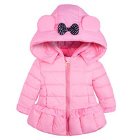Wholesale kids jacket pink for sale - Group buy New children Hooded Coat Winter girls Long Sleeve Plus velvet Thicker Outwear kids Down Coat Christmas Gifts colors