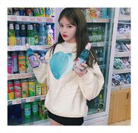 Wholesale Thick Sweaters Babies - Korea purchasing new winter wind Harajuku small fresh College Wind baby blue love overside loose sweater