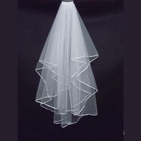 elfenbein satin hochzeit schleier großhandel-Einfacher preiswerter weißer Elfenbein-Tulle-Hochzeits-Schleier-Satinrand zwei Schichthochzeit Kopfschmuck-Haarzusatz-Brautschleier geben Verschiffen frei