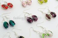 Wholesale Earring Murano - 12pairs lots Fashion Jewelry Bulk Flower 3D murano glass bead Silver tone Dangle earrings Fashion Gift