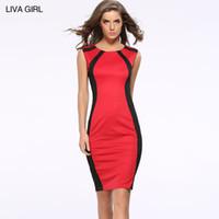 seks engellemek toptan satış-Avrupa Moda Kadınlar Kolsuz Bodycon Elbise Diz Boyu Renk Blok Sıkı Uydurma İnce Seks Kalem Elbise Kırmızı