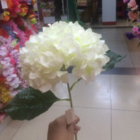 "Wholesale Decorative Bouquets - Artificial Milk White Hydrangea Flower 80cm 31.5"" Fake Silk Single Hydrangeas Bouquet for Wedding Centerpieces Home Party Decorative Flowers"