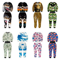 Wholesale New Fashion Camouflage Clothing - Wholesale-EACA New Fashion Men Women Joggers And Hoodies Suit 3D Print Wolf Galaxy Lips Leopard Camouflage Clothes Harajuku tracksuits
