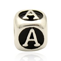 Wholesale Enamel Alphabet Charms - Black enamel dice shape Letter A to Z bead alphabet BRACELET European DIY charm fit Pandora bracelet