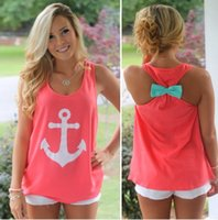 Wholesale Bow Back Tops - FG1509 2015 summer women o neck back bow navy anchor print tank tops casual S - XL cute vest