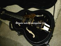 Wholesale Hollow Falcon - Black Falcon 6120 Hollow Jazz Guitar with bigbys gold hardware with hardcase wholesale OEM Cheap