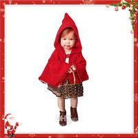 Wholesale Girls Jackets Dresses - Girls Red Cloak Jacket Poncho Winter Coat Party Dress