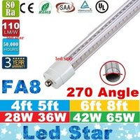 Wholesale Led Single Bulb - 8ft led tube FA8 single pin V-Shaped T8 led light tubes 4ft 5ft 6ft 8 feet Cooler Lights Led Bulbs AC 110-240V