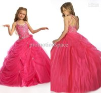 Wholesale Christmas Dresses Baby Girls Model - 2015 Cute Cheap Christmas Spring Red Formal Flower Girl Dresses Wedding Girl's Pageant Dresses baby girl dresses 1403