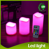 Wholesale Led Pillar Candles Light Wax - Remote Control Pillar Wax LED Candle Lights Color Changing Remote Control 3 Size LED Candle Light 18 key Candle Lights LED Wax Candle Lights