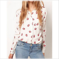Wholesale Blouse Lips - New Fashion Turn Down Collar Red lip Print Chiffion Woman Blouse Lady Fashion Long Sleeve Shirt Classic Blusas Femininas WF-5005