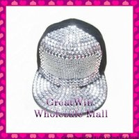 Wholesale Promotional Snapback Hats - Wholesale-Hot wholesale discount promotional latest design clear rhinestone crystal sequin baseball cap for women men snapback hats