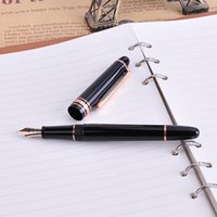 Wholesale Nice Friends - 1pc lot Rose-gold gold silver Clip Black Fountain Pen MB Ink Pens Nice Christmas Gift for Friends and Family Writing Stationery