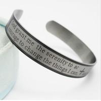 Wholesale fashon jewelry - 12pcs English Serenity prayer Stainless steel Bangles Bracelets Men's Fashon Wristbands Wholesale Cuff Jewelry Lots