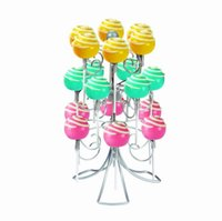 Wholesale Wholesale Cake Tier Stand Holders - Wholesale-3 Tier 18 Pops Swirly Wire Cake Pop Holder Lollipop Stand Holds Party Wedding