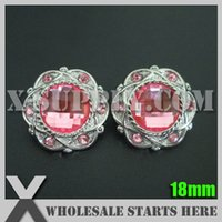 Wholesale Wholesale Bulk Buttons For Clothing - 18mm Plastic Acrylic Rhinestone Button for Clothing,Flower Center Silver Base with Pink Rhinestone Bulk Wholesale