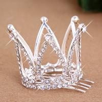Wholesale rhinestone mini tiara - 2017 Mini Girls Rhinestone Crown Bridal Tiara Hair Comb Pin For Wedding Party