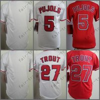 Wholesale Boys Baseball Jersey Black - Youth Los Angeles Jersey 27# Mike Trout, 5# Albert Pujols White Red Kid S M L XL