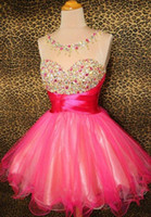 Wholesale Sparkle Gold Cocktail Dress - 2015 short party dresses Sparkle Crystal Beads Red Organza Backless Cheap Graduation Homecoming Dresses Free Shipping Cocktail Gowns
