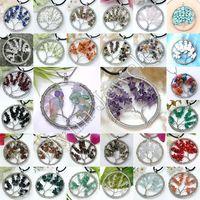 Wholesale Silver Pendants Wind - Natural Gem Stone Gravel Beads Round Tree Of Life Winding Reiki Pendulum Pendant Charms Energy Health Amulet Numen Classic Jewelry 30pcs Mix