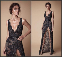 Wholesale full length occasion dresses online - 2018 New Black Lace Beaded Split Prom Pageant Dresses Modest Fashion V neck Sexy Full length Berta Evening Occasion Dress