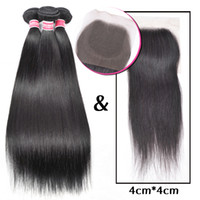 Wholesale Malaysian Hair Tied Weft - 8A Unprocessed Brazilian Peruvian Malaysian Indian Hair Bundles Straight Remy Human Hair Weft And Closure Hand Tied Frontal Lace Closure