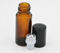 bouteilles d'huile de parfum achat en gros de-200pcs / lot épais rechargeable 5ML Ambre Rouleau sur Metal Roller Ball Bouteille En Verre Vide pour le maquillage huiles essentielles oeil massage Parfums bouteille