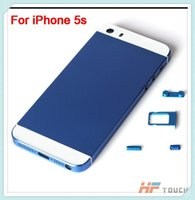 Wholesale Glass 5s Replacement Back - Dark Blue High Quality Back Glass Battery Housing Door Cover Repair Parts Replacement for iphone 5S Colorful Free Shipping