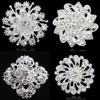 10 Designs !! Silver Tone Pretty Flower Brilhante Brilhante Cristal Broche Mulheres Floral Collar Pin Broches de moda para casamento Cheap Wholesale