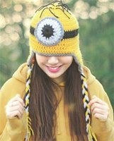 Wholesale Despicable Knitted Hat Infants - best-selling Despicable Me Minion Children Crochet Hats Boys Girls Cute Yellow 3D Robot Knitted Caps Infant Beanie