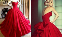 Wholesale Red Wedding Evening Dress - 2016 New Plus Size Wedding Dresses Red A Line Sweetheart Red Pageant Prom Evening Party Ball Gown Wedding Dress Bridal Gowns Plus Size