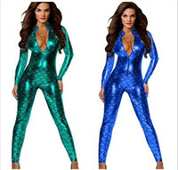 Wholesale New Mermaid Costumes - New Fish Scales Sexy Bodycon Jumpsuit Women Mermaid DS Costumes With Zipper 4 Colors hight quality free shipping