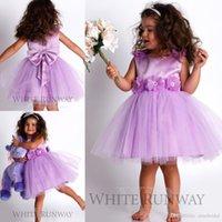 Wholesale Girls Ties Pink - 2017 Cute Lavender Flower Girl Dresses for Weddings A Line Jewel Floral Sash Zipper Back with Bow Tie Knee Length Flower Girl Dresses
