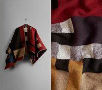 schwarze wollmützen großhandel-2014 Marke Designer Frauen Farbe Schwarz Check Blanket Poncho Wolle Plain Cape Für Dame, Freies Verschiffen