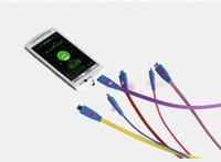 ingrosso adattatore per caricabatterie usb-1m 3ft Visibile Led Light Smile Face Flat Noodle Micro USB Caricatore di sincronizzazione dei dati Adattatore cavo per Samsung Galaxy s4 s3 LG HTC Nokia US012
