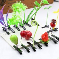 Wholesale Planting Bean Sprouts - Hair Clips New Lovely Novelty Plants Grass Fruit Headwear Small Bud Antenna Hairpins Lucky Grass Bean Sprout Mushroom Party Hair Pin