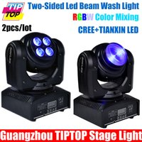 Gros-2PCS / Lot Nouveau Arrivé Illimité Rotating Mini Led Moving Head Light Double Face RGBW étape Moving Head faisceau lumineux 3/25 Angle de faisceau